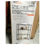 HDX 54 in. H x 36 in. W x 14 in. D 4-Shelf Wire Unit in Black in good condition