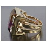 Stunning Large Anahi Ametrine (Amethyst and Citrine) Estate Ring in 14k Gold