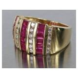 Beautiful Natural Ruby and Diamond Estate Ring in 14k Gold