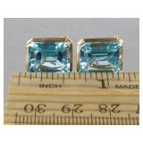 Gorgeous 14 CT Aquamarine Estate Earrings in 14k Gold