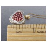 Natural Ruby and Diamond Pendant with Chain in 14k Gold
