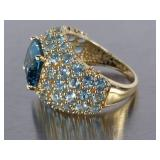 Amazing London Blue Topaz and Aquamarine Estate Ring in 14k Gold
