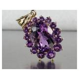 Gorgeous, Well Cut Natural Amethyst Pendant in 14k Gold