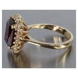Stunning Extra Fine Garnet and Diamond Estate Ring in 14k Gold