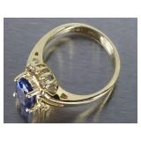 Natural Tanzanite and Diamond Estate Ring in 14k Gold