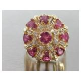 Stunning Pink Sapphire and Diamond Estate Ring in 14k Gold