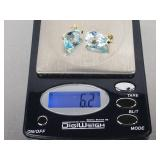 Ladies Extra Fine Blue Topaz Earrings in 14k Gold