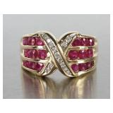Gorgeous Natural Ruby and Diamond Estate Ring in 14k Gold