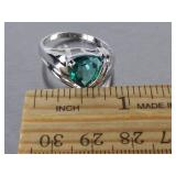 Blue Green Gemstone Trillion Cut Estate Ring in 10k White Gold