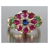 Natural Ruby, Emerald, Sapphire, and Diamond Estate Ring in 14k Gold
