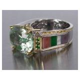 Delightful Green Tourmaline Estate Ring
