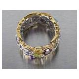 Stunning Custom Natural Gem Eternity Estate Ring