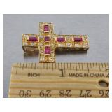 Ladies Ruby Cross Pendant