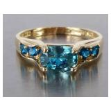 Brilliant Blue Topaz Estate Ring in 14k Gold
