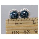 Stunning Blue Diamond Estate Earrings