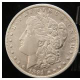 1891-CC 'SPITTING EAGLE VARIETY' CARSON CITY MORGAN SILVER DOLLAR