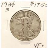 1934-S WALKING LIBERTY SILVER HALF DOLLAR