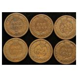 6 INDIAN HEAD CENTS 1889 1891 1893 1897 1908 1909