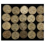 GROUP OF 20 US WWII WARTIME SILVER NICKELS