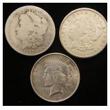 3 SILVER DOLLARS 1887-O 1921-S MORGAN 1922 PEACE