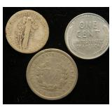 3 COINS 1943-D WWII CENT 1926-D MERCURY DIME 1906 LIBERTY V NICKEL