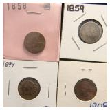 4 COINS 1858 FLYING EAGLE 1859 1899 1908 INDIAN HEAD CENTS