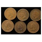 6 INDIAN HEAD CENTS 1882 1884 1890 1903 1906 1907
