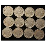 GROUP OF 12 US BUFFALO NICKELS