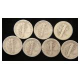 GROUP OF 7 MERCURY DIMES