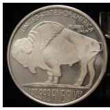 1 TROY OZ. .999 FINE SILVER INDIAN BUFFALO DESIGN