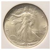 1943-P WALKING LIBERTY SILVER HALF DOLLAR BU-UNC