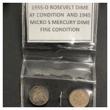 1955-D Roosevelt Dime & 1945 Micro-S Mercury Dime