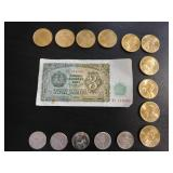 Rare 1951 Bulgarian 3 Leva Bank Note, Ten 2000 P Sacajawea Dollars and 75 Modern Nickels