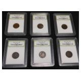 Six Indian Head Pennies 1892, 1893, 1895, 1897, 1898, 1899
