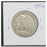 1934 - D W.L. Half Dollar Walking Liberty