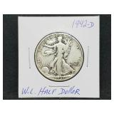 1942 - D W.L. Walking Liberty Half Dollar