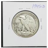1945 - D W.L. Walking Liberty Half Dollar