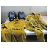 Welding helmets and aprons