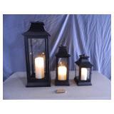 3 Genuine Luminara Lanterns with Luminara Flameless Candles