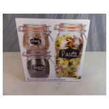 New 3 Piece Chalkboard Glass Canister Set with Gasket