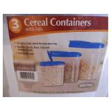 3 New Cereal Containers with Lids