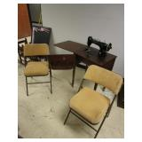 VINTAGE SEWING MACHINE AND FOLDING CHAIRS
