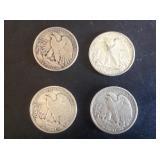4 - Walking Liberty Half Dollars 1943, 44, 45, and 46