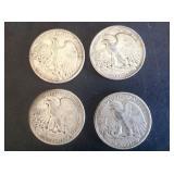 4 - Walking Liberty Half Dollars 1941, 42, 43, 44