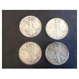 4 - Walking Liberty Half Dollars 1918, 36, 41 & 43
