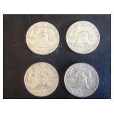 4 - Franklin Half Dollars 1960, 61, 62 & 63