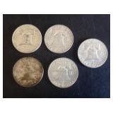 5 - 1963 Franklin Half Dollars