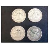 4- Franklin Half Dollars 1953, 54, 60 & 62