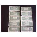 10 - 1963 Series B Joseph W Barr Dollar Bills