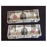 2 - Two Dollar Bills 1928 D & 1953